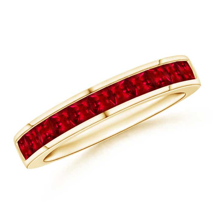 Angara Square Ruby Diamond Half Eternity Band in White Gold FffOXmO