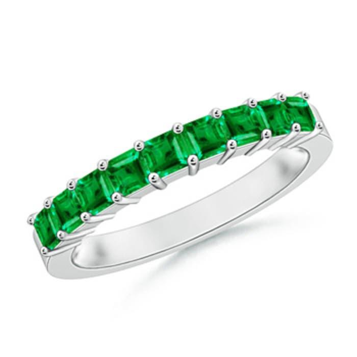 Angara Womens Square Emerald and Diamond Semi Eternity Band in White Gold UuhI4e3ZN