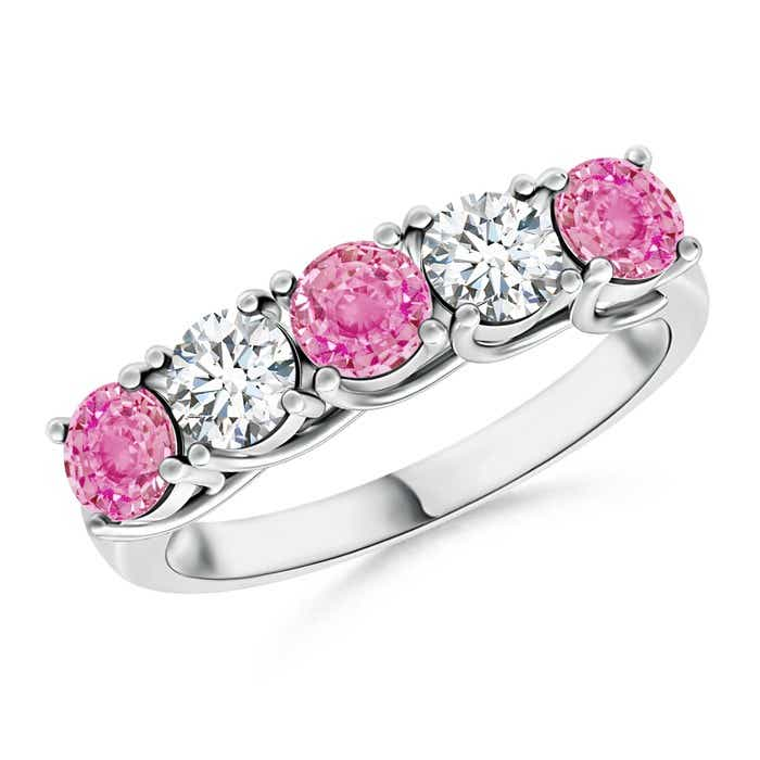 Angara Round Pink Sapphire Half Eternity Wedding Ring rfe1zvbg