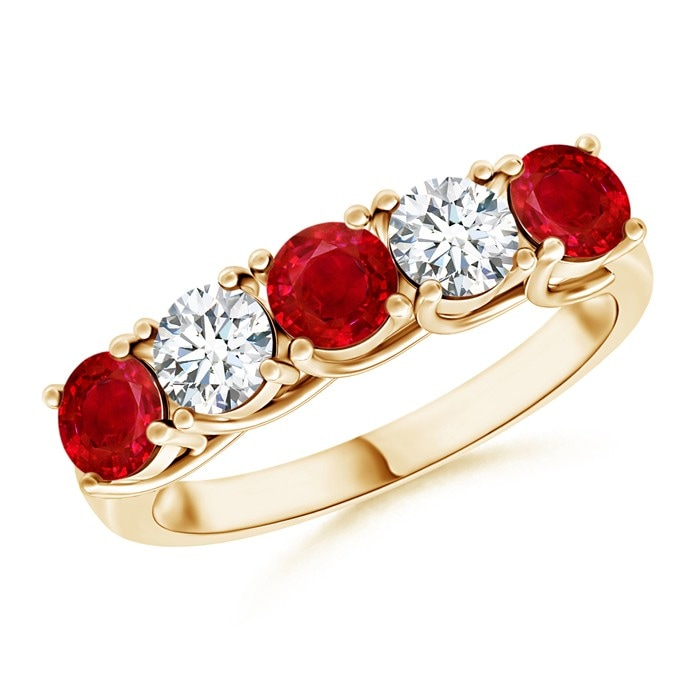 Angara Prong Set Ruby Dimaond Three Stone Engagement Ring in 14k Yellow Gold