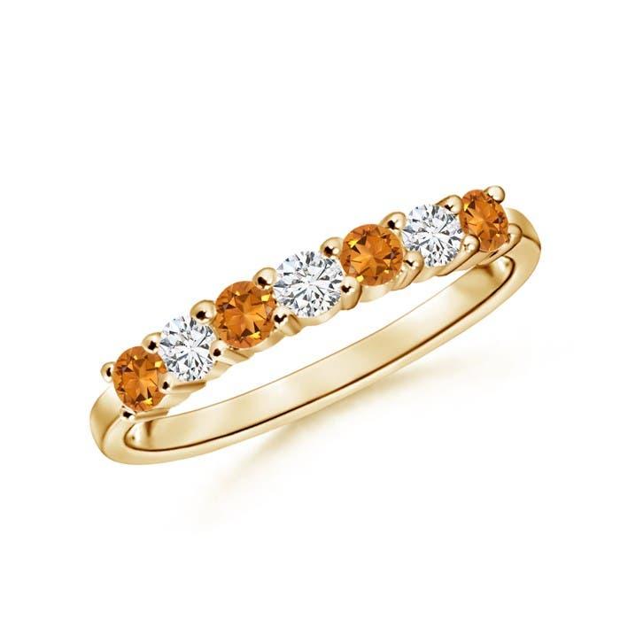 Angara Round Citrine Half Eternity Wedding Ring Rp5h21c8
