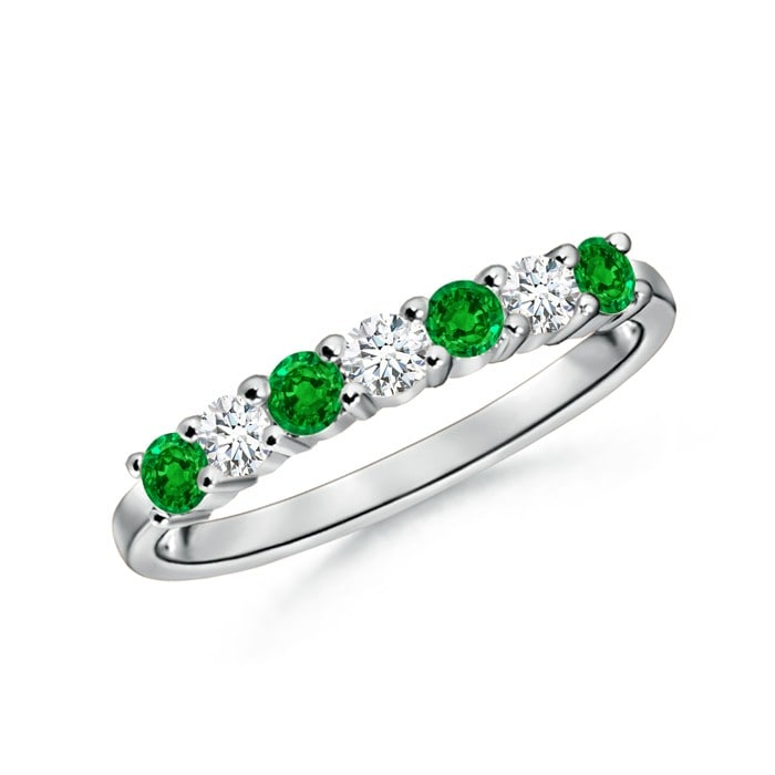 Angara Natural Emerald and Diamond Semi Eternity Band in White Gold PLKpIiurQ