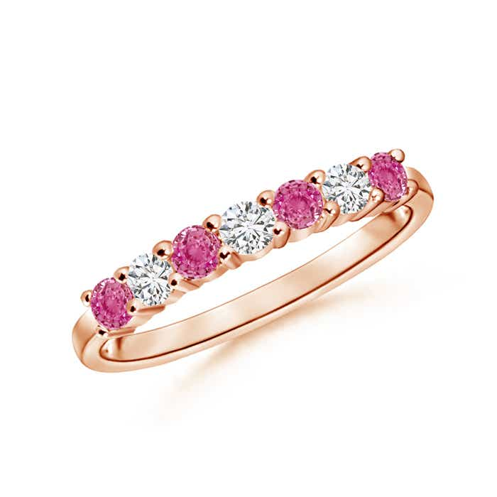 Angara Pink Sapphire and Diamond Half Eternity Band uZzUJ