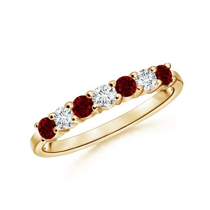 Angara Seven Stone Ruby Eternity Band in Platinum 1887dsQ4