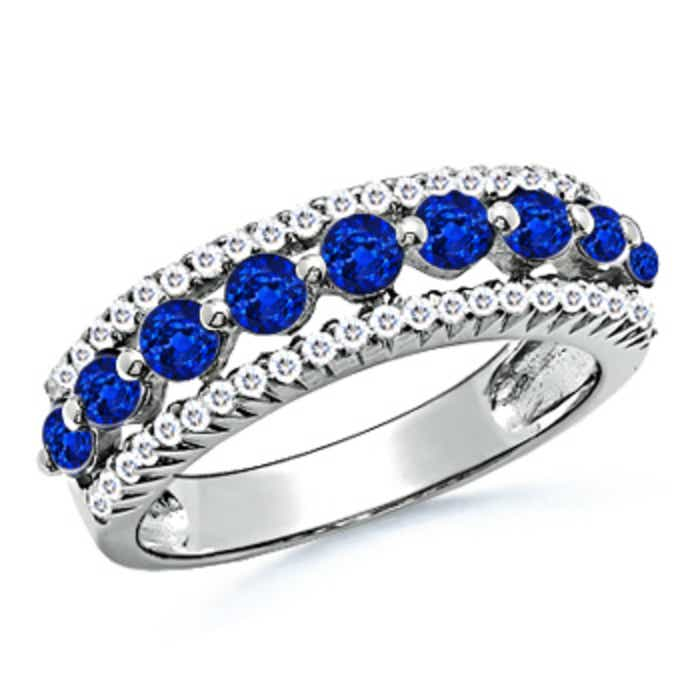Angara Prong Set Blue Sapphire and Dimaond 3 Stone Wedding Ring in Platinum NATc0G