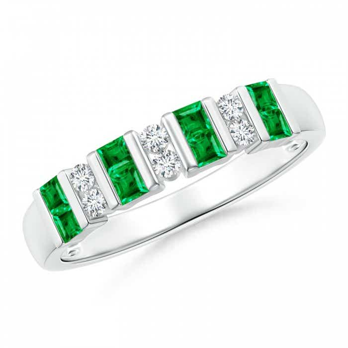Angara Womens Square Emerald and Diamond Semi Eternity Band in Yellow Gold dDwXhe
