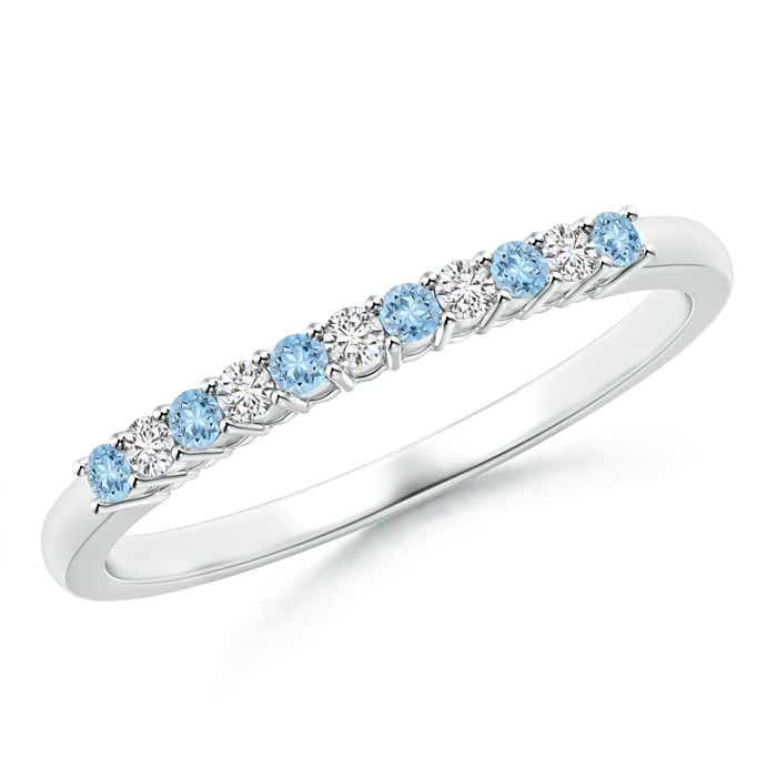 Angara Half Eternity Five Stone Aquamarine and Diamond Wedding Ring pbsoI