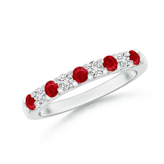 Angara Ruby Diamond Semi Eternity Wedding Band in Yellow Gold UDiRHFE
