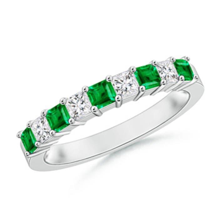 Angara Square Emerald and Princess Diamond Three Stone Ring arzle