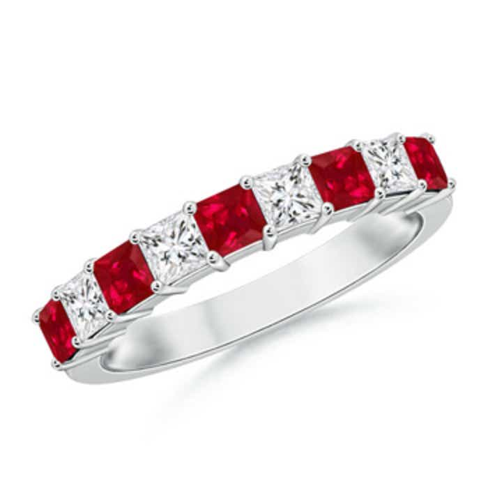 Angara Square Ruby and Diamond Semi Eternity Band in Platinum Iee3T33