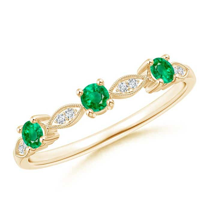 Angara Womens High Dome Gypsy Set Emerald Semi Eternity Wedding Band HIkMxnh82R