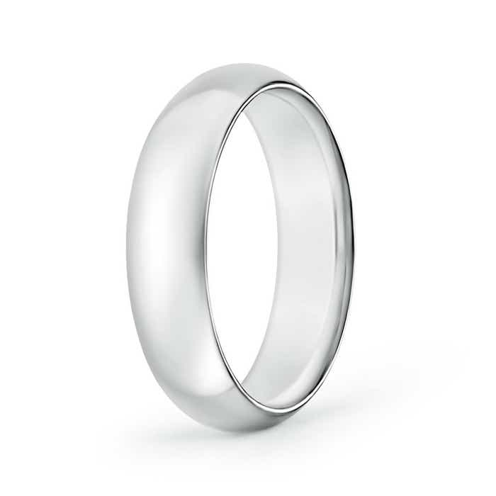Angara Double Milgrain Edges Domed Mens Wedding Band in Platinum 8kojW