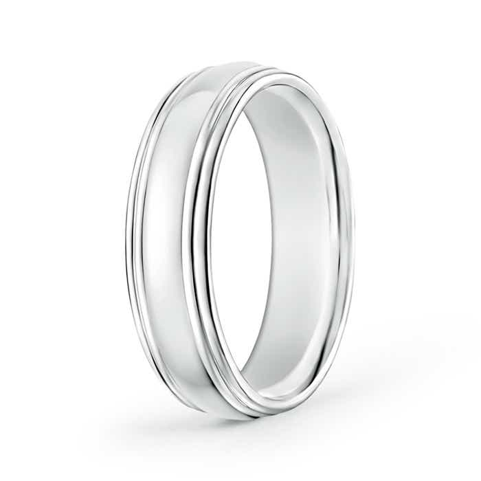 Angara Double Milgrain Edges Domed Mens Wedding Band in Platinum zF9tVyOfb