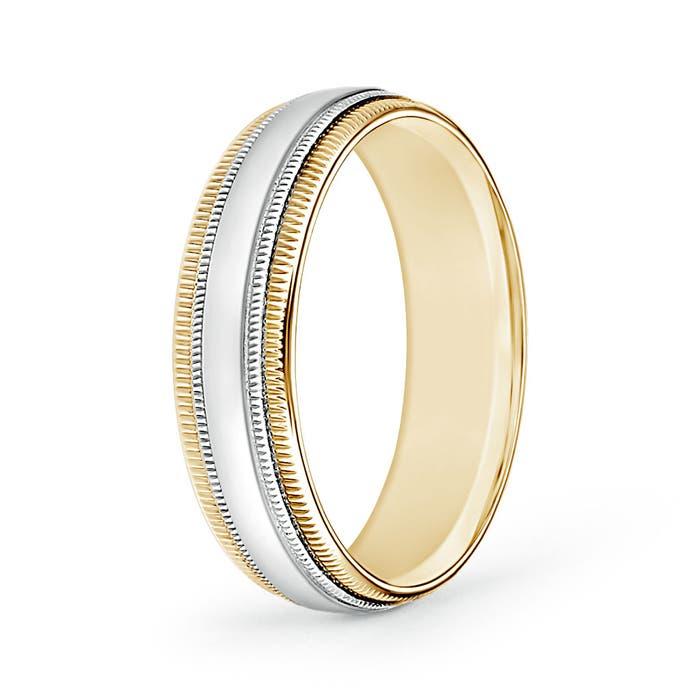 Angara Double Milgrain Edges Domed Mens Wedding Band in Platinum NKxboY
