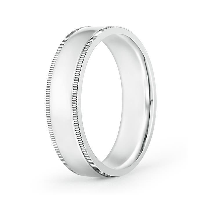 Angara Mens High Polished Milgrain Edges Wedding Band in Platinum jJ41G