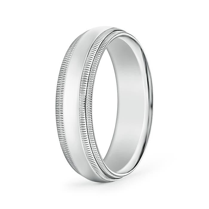 Angara Mens High Polished Milgrain Edges Wedding Band in Platinum pZA9t