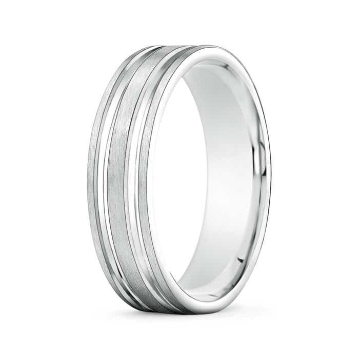 Angara Mens Polished Parallel Grooves Comfort Fit Wedding Band bC6g6