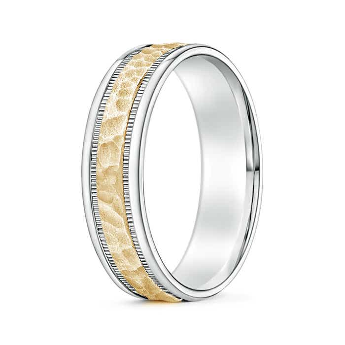 Angara Mens High Polished Milgrain Edges Wedding Band in Yellow Gold SykqB