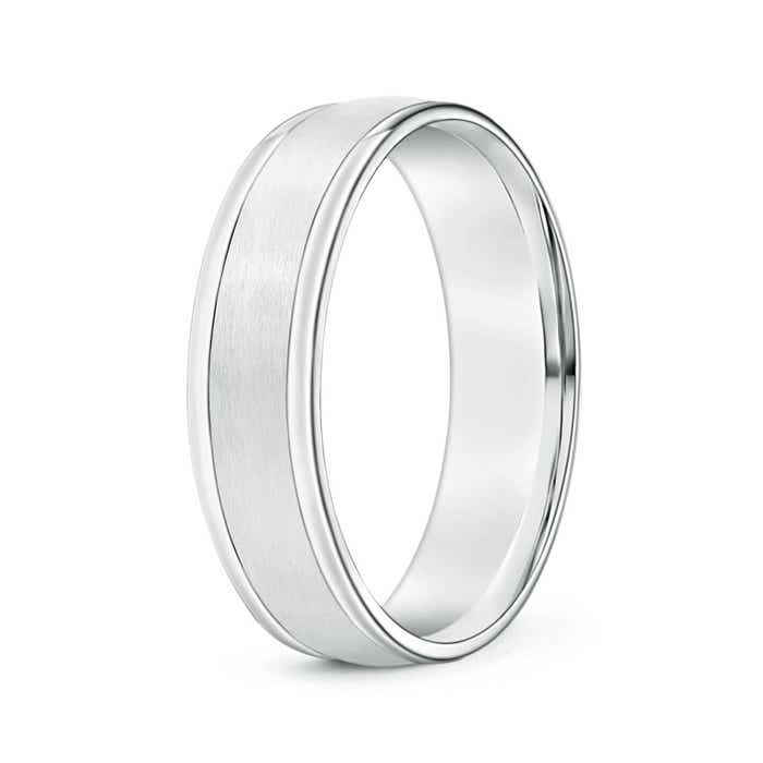 Angara Round Edged Mens Satin Finish Wedding Band mWn61W