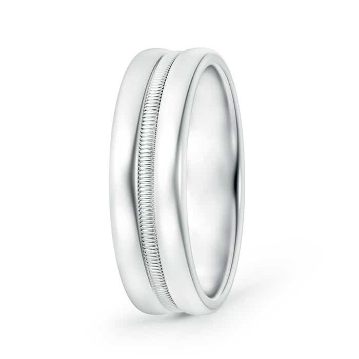 Angara Triple Dome Style Comfort Fit Milgrain Wedding Band for Him qbrHGcB