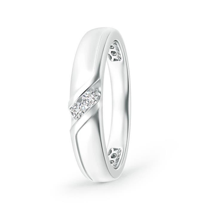 Angara Slanted Channel-Set Diamond Two Stone Wedding Band UvPCBja