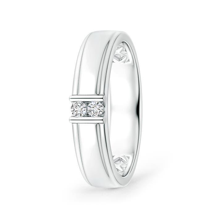 Angara Diagonal Grooved Diamond Two Stone Wedding Band sjspoRhv