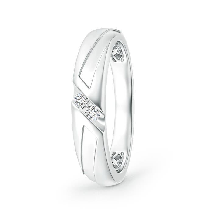 Angara Diagonal Two Stone Diamond Wedding Band with Ridged-Edge ETYlUbTdO