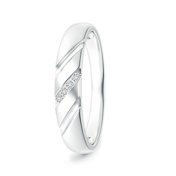 Angara Triple-Ribbed Channel Set Diamond Mens Wedding Band Czvoi