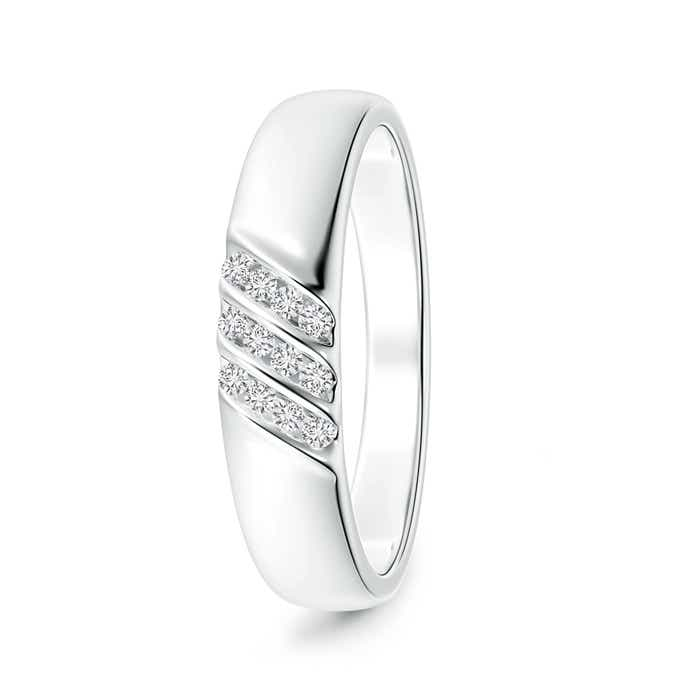 Angara Slanted Channel Set Diamond Wedding Band for Him ysZAj