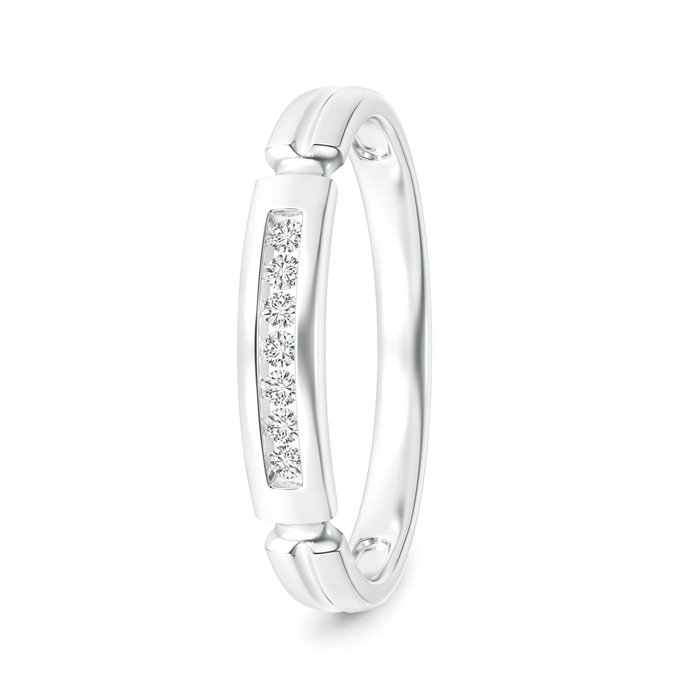 Angara Milgrain-Edged Pave Set Diamond Half Eternity Mens Wedding Band LhWJtP