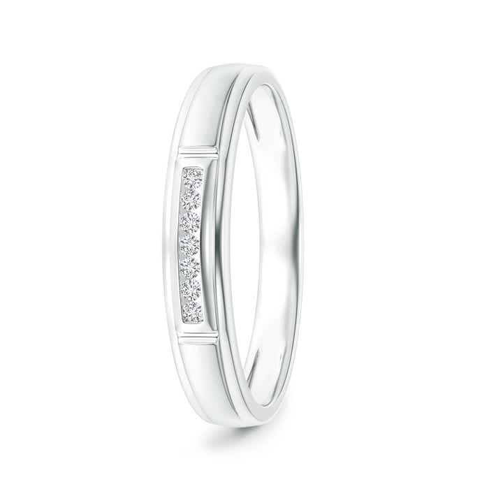 Angara Milgrain-Edged Pave Set Diamond Half Eternity Mens Wedding Band XD36Wuzxvx