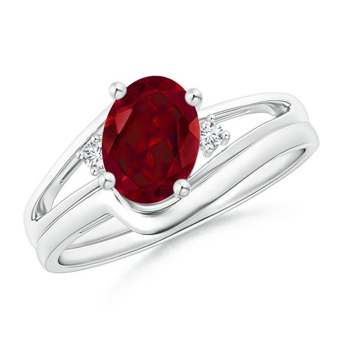 Angara Split Shank Amethyst Engagement Ring with Wedding Band 6yLHdQUXk0