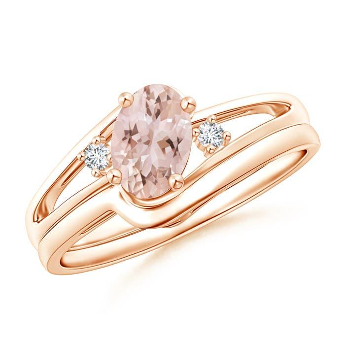 Angara Split Shank Morganite Engagement Ring with Wedding Band wUaR89dOnz