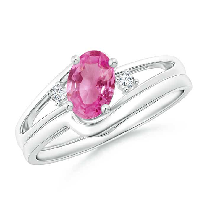 Angara Oval Pink Tourmaline Bypass Ring with Trio Diamond Accents in Platinum NUAfXP