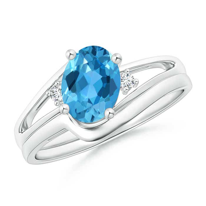 Angara Split Shank Swiss Blue Topaz Engagement Ring in Yellow Gold