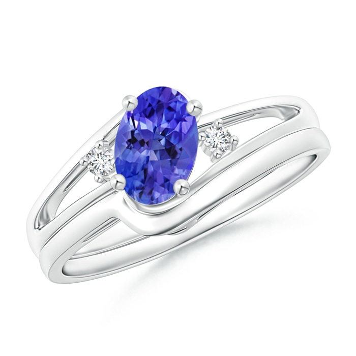 Angara Triple Shank Oval Tanzanite and Diamond Halo Ring in Platinum 1Ee4Lx