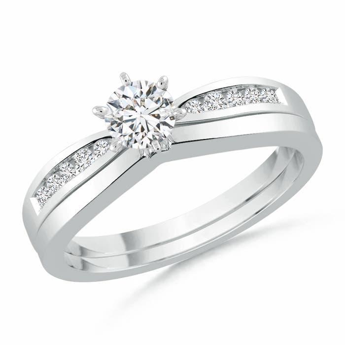 Angara Yellow Gold Solitaire Round Diamond Wedding Ring Set with Plain Band yNdIwO