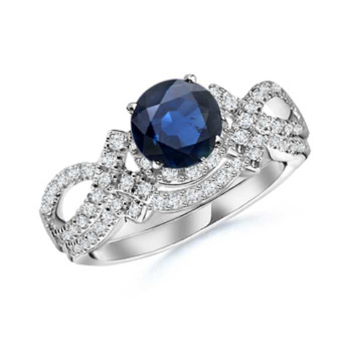 Angara Round Sapphire Diamond Engagement Ring in White Gold 7bHKWWkahK