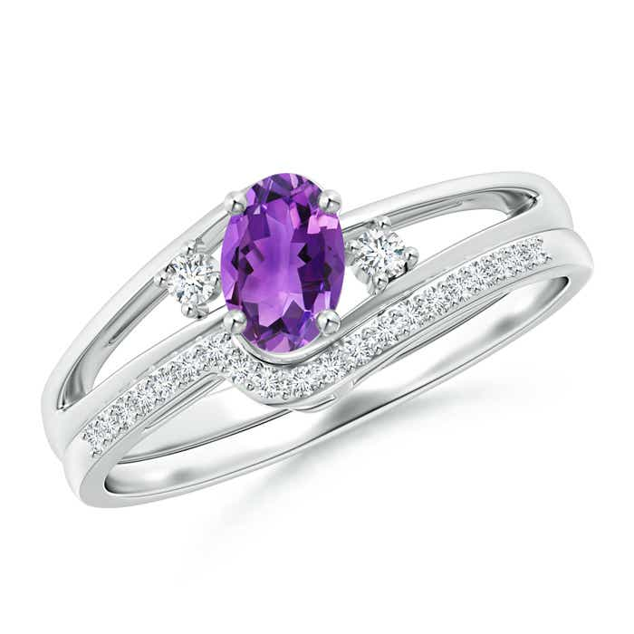 Angara Oval Amethyst and Diamond Band Ring Set in White Gold iiKW5i