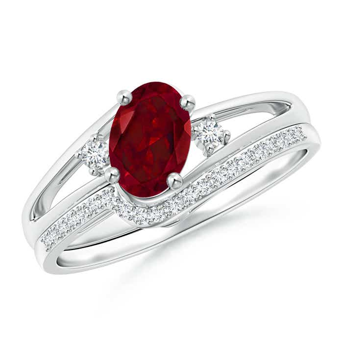 Angara Oval Garnet Bypass Ring with Trio Diamond Accents 2e3xRCpZKi