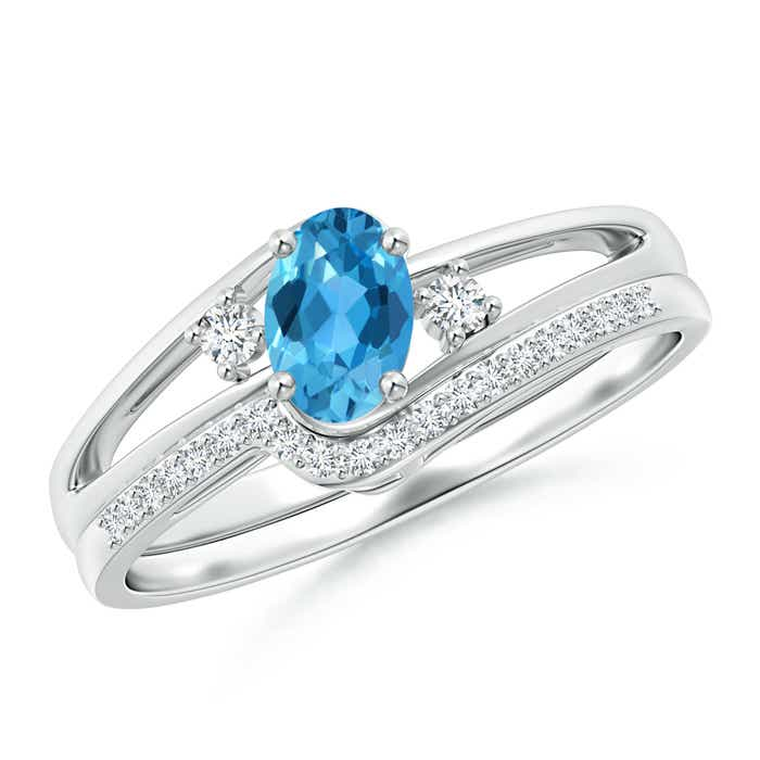 Angara Oval Swiss Blue Topaz Bypass Ring with Trio Diamond Accents
