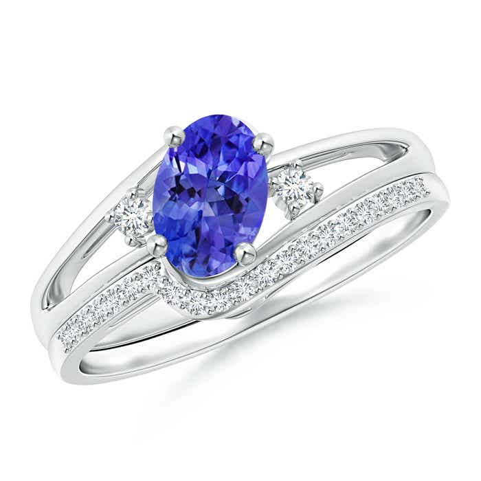 Angara Oval Tanzanite Bypass Ring with Trio Diamond Accents in 14K White Gold