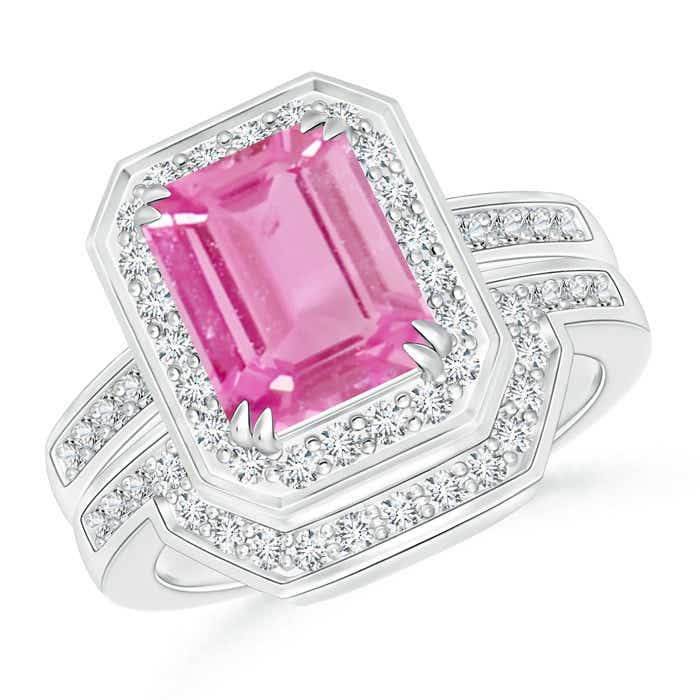 Angara Cocktail Ring with Natural Pink Sapphire in White Gold oElgY