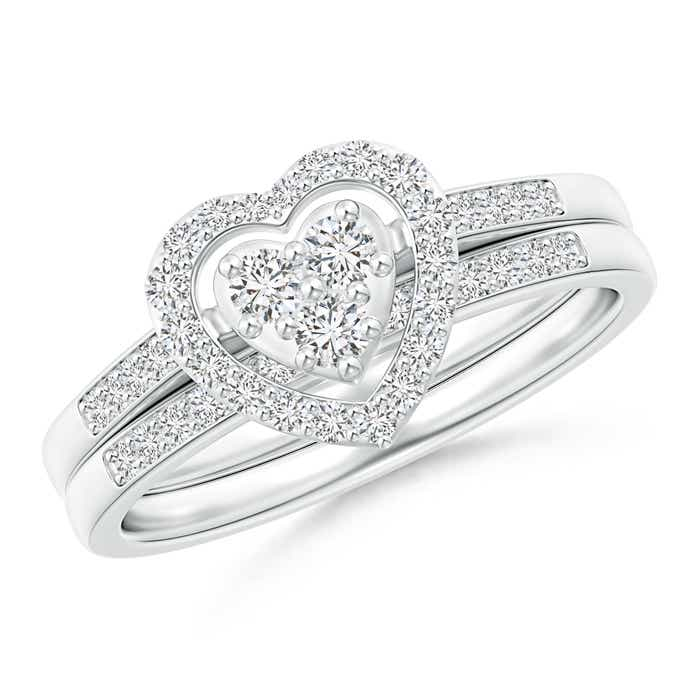 Angara Prong Set Halo Diamond Heart Ring in Gold c7GeuDWZpZ