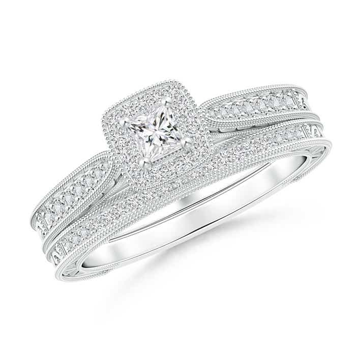 Angara Three Prong-Set Diamond Two Stone Ring with Milgrain Diamond Accents WqVieQLjos
