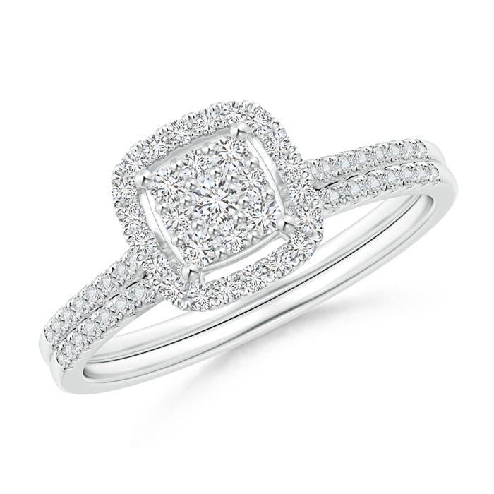 Angara Composite Diamond Floating Cushion Halo Bridal Set miUOI9
