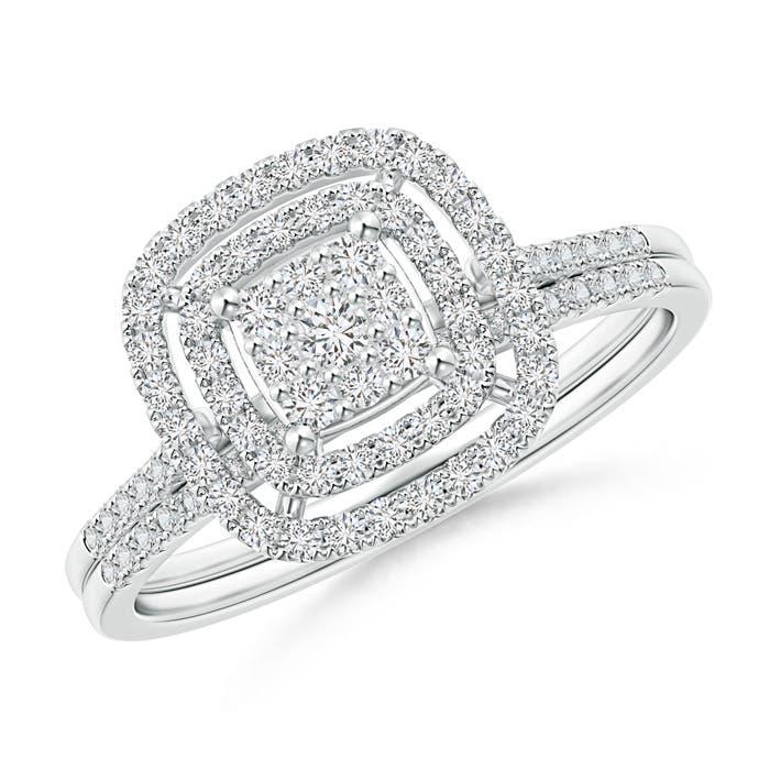 Angara Entwined Infinity Diamond Cushion Cluster Halo Bridal Set YfAEu1