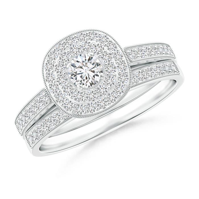 Angara Trio-Sided Round Diamond Cluster Halo Bridal Set dP5N3P