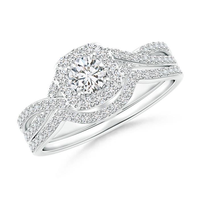 Angara Criss-Cross Infinity Diamond Cushion Halo Bridal Set YmybKJUs