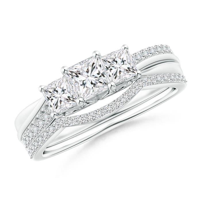 Angara Pave-Set Cushion Halo Diamond Triple Shank Bridal Set u8QOv